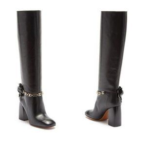 TORY BURCH Blossom Black Smooth Leather Tall Boots